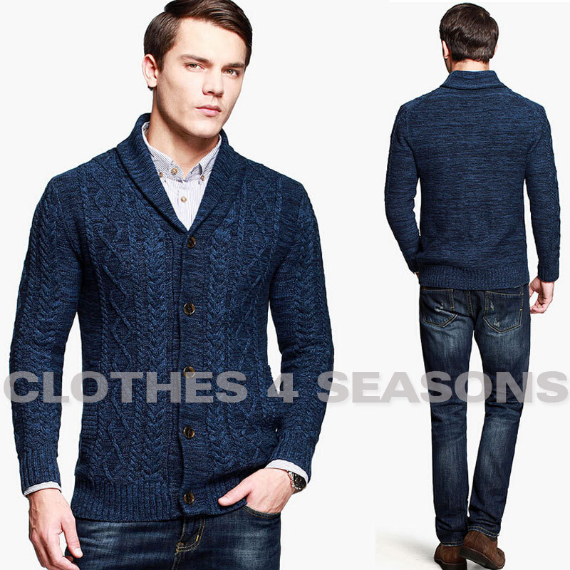 North European Men's knitted Cardigan Coat Vintage ...
