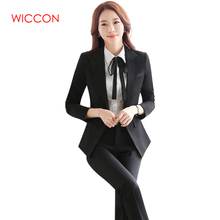 WICCON Workwear Women's Suit Long Sleeves Black Solid Formal Pants Suit 2018 New Fashion Hot OL Elegant Single Button Pant Suits