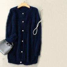 Высококачественный Женский Длинный свитер с пуговицами, натуральный норковый кашемировый кардиган для девочек tbsr348