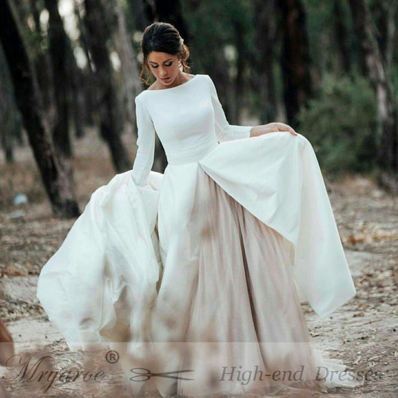 Simple Elegant Open Back Long Sleeve Wedding Dress Detachable Cathedral Train Princess Wedding Gowns Vestido De Noiva