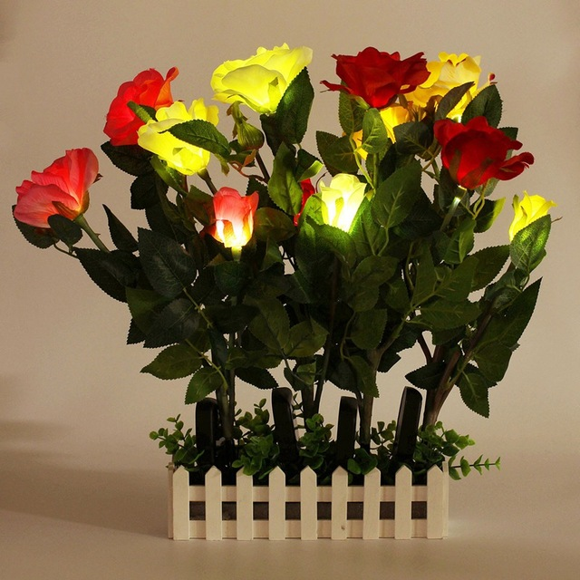 New Arrival Garden Lawn Decoration View Rose Flower Solar Light Waterproof Ip55 3led Led