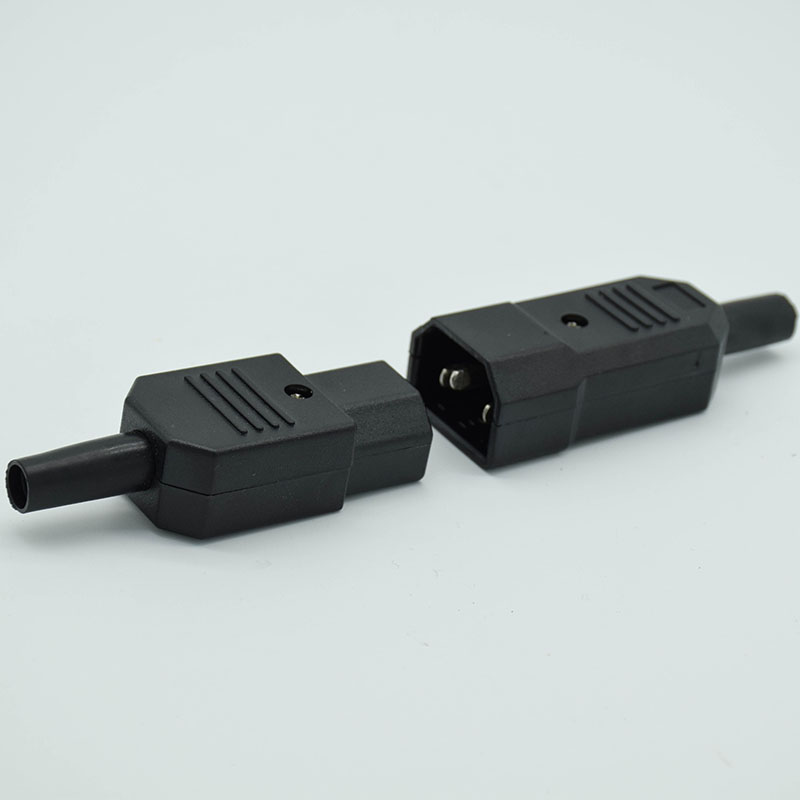 IEC Straight Cable Plug Connector C13 C14  10A 250V Black female&male Plug Rewirable Power Connector 3 pin AC Socket
