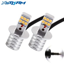 2Pcs H3 Led Bulbs SHARP Chip Led White 12-SMD 750LM DRL Daytime Running Lights Fog Lights Auto Leds Car Light Source Lamp 12V