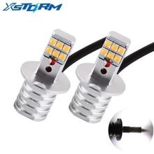 2Pcs H3 Led Bulbs SHARP Chip Led White 12-SMD 750LM DRL Daytime Running Lights Fog Lights Auto Leds Car Light Source Lamp 12V