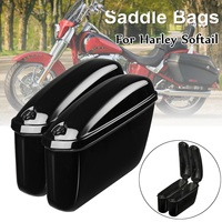 Pair Motorcycle Trunk Saddlebags Side Hard Box for Harley Softail Motorbike in Leather Saddle Bags