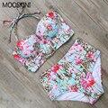 MOOSKINI Sexy Impreso Floral Del Verano Playa del Traje de Baño Empuja Hacia Arriba El traje de Baño de Las Mujeres traje de Baño Bikini Set de Cintura Alta Beachwear 2017