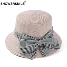SHOWERSMILE Women Sun Hat Retro Pink Female Paper Straw Summer Plaid Bowknot Number Decoration Holiday Ladies Bucket