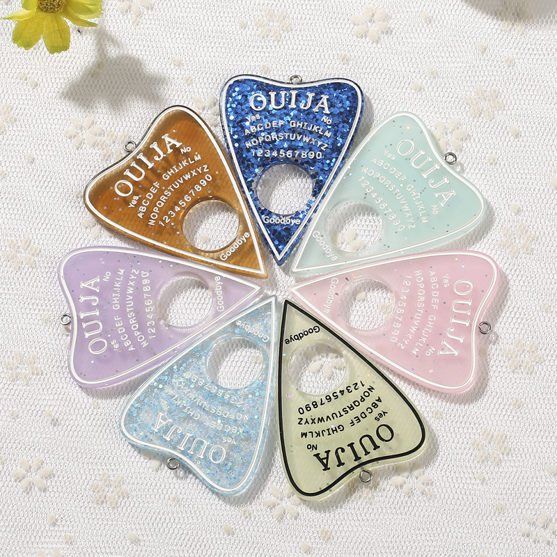 Cabochons Necklace Pendant Charms Ouija Resin Glitter-Accessory Flat-Back DIY Planchette
