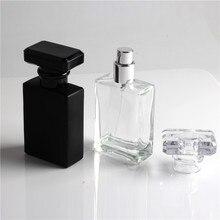 Novo Tipo 30ml Refil Preto e Transparente de Vidro Garrafas De Vidro Spray de Perfume Recarregáveis Atomizador Vazio Recipiente Cosmético Para Viagens