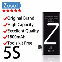 Zosol Original Brand Genuine High Capacity 1800mAh AAAAA Quality Battery For IPhone 5S 3 7V Replacement