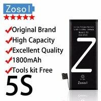Zosol-Originele Merk Echt Hoge Capaciteit 1800 mAh AAAAA Kwaliteit Batterij voor iPhone 5 S 3.7 V Vervanging Inter