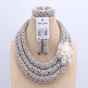 Image 4 - 3 Layers African jewelry sets Wedding Silver Crystal Beads Jewelry Sets Elegant Nigerian Wedding Necklace Jewelry Set Brand New