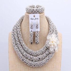Image 4 - 3 schichten Afrikanischen schmuck sets Hochzeit Silber Kristall Perlen Schmuck Sets Elegante Nigerian Hochzeit Halskette Schmuck Set Marke Neue