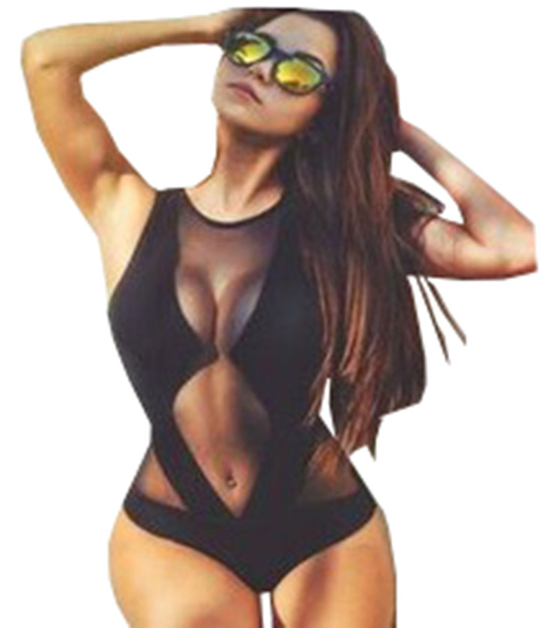 Hot 2017 Sexy Black Mesh One Piece Swimwear High Cut Bodysuit maios de praia trikinis for women maillot de bain grande taille