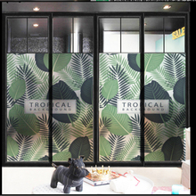 Window Frosted Glass stickers Fresh Tropical Plant Film Translucent Opaque Office Bathroom Stickers