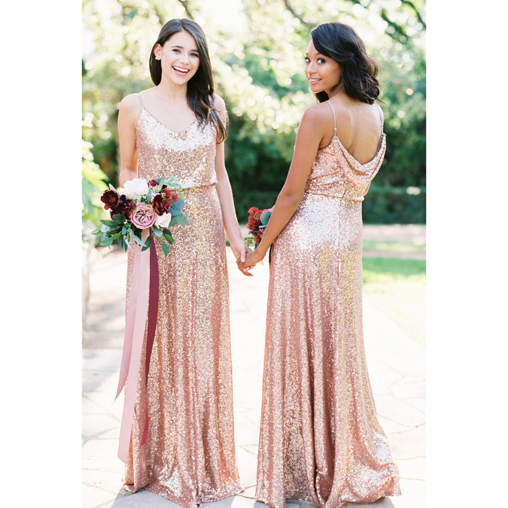 2019 Sparkly Champagne Sequin   Bridesmaid     Dresses   Spaghetti Strap Floor Length Elegant Long Wedding Party   Dress   Robe De Soiree