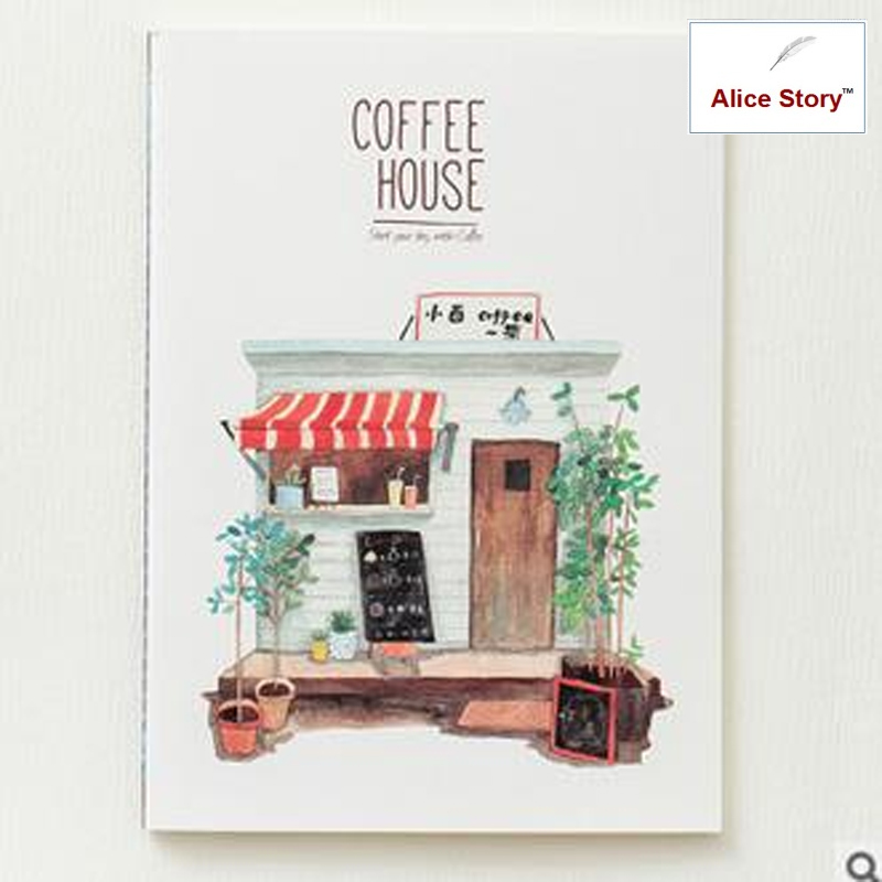 Coffee house stitching binding diary notebook joytop memo record stationery school office