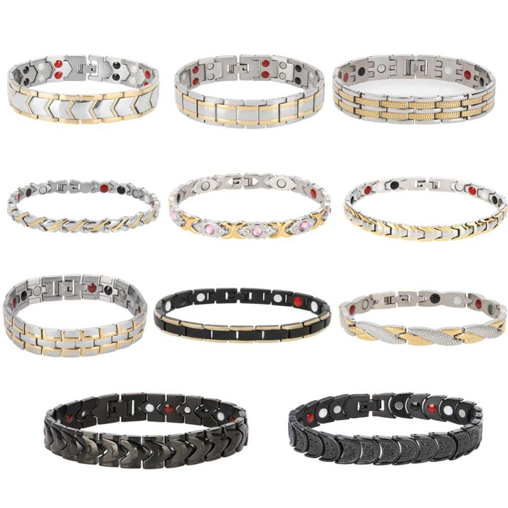 11 Type Healing Magnet Bracelet Bangle Women Men Stainless Steel Health Care Magnetic Germanium Energy Power Male Casual Jewelry