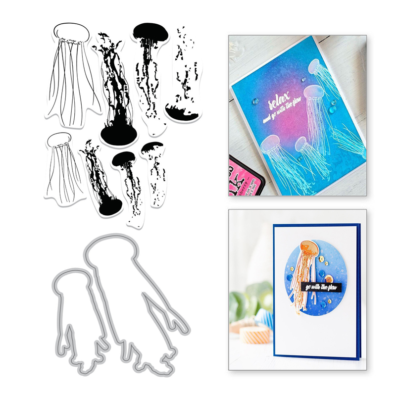 YaMinSanNiO Marine Life Jellyfish Metal Cutting Dies Animal Scrapbooking Clear Stamps and Die Cuts Making Card Embossing Craft