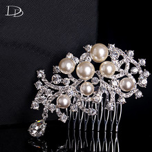 top quality wedding hairpin accessories bridal tiara simulated pearl ornament pink crystal pendant head jewels women bijoux A006