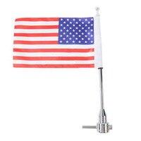 Luggage Rack Vertical Flag Pole USA Flag For Harley Davidson Sportster 1200 883 Road King Rocker