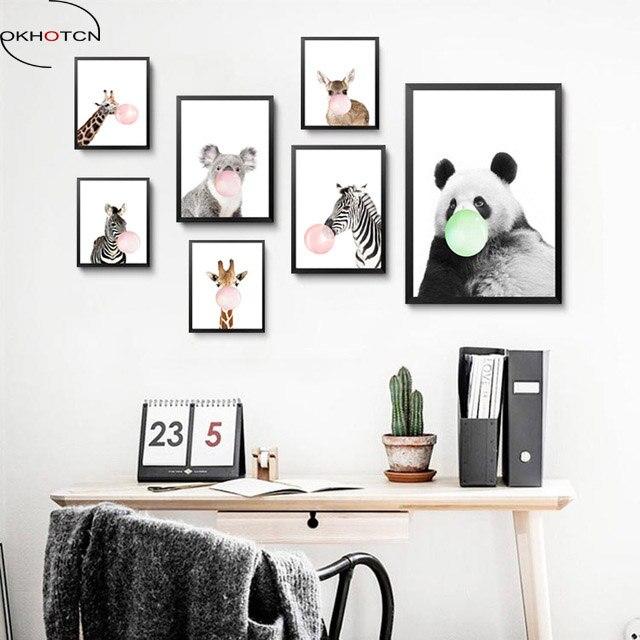 Okhotcn Nordique Mignon Animaux Zèbre Girafe Panda Toile Peinture