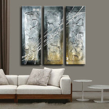 Hand painted Abstract Oil Paintings on Canvas Wall Art, Knife Graffiti Lines Silver Painting For Home Decoration