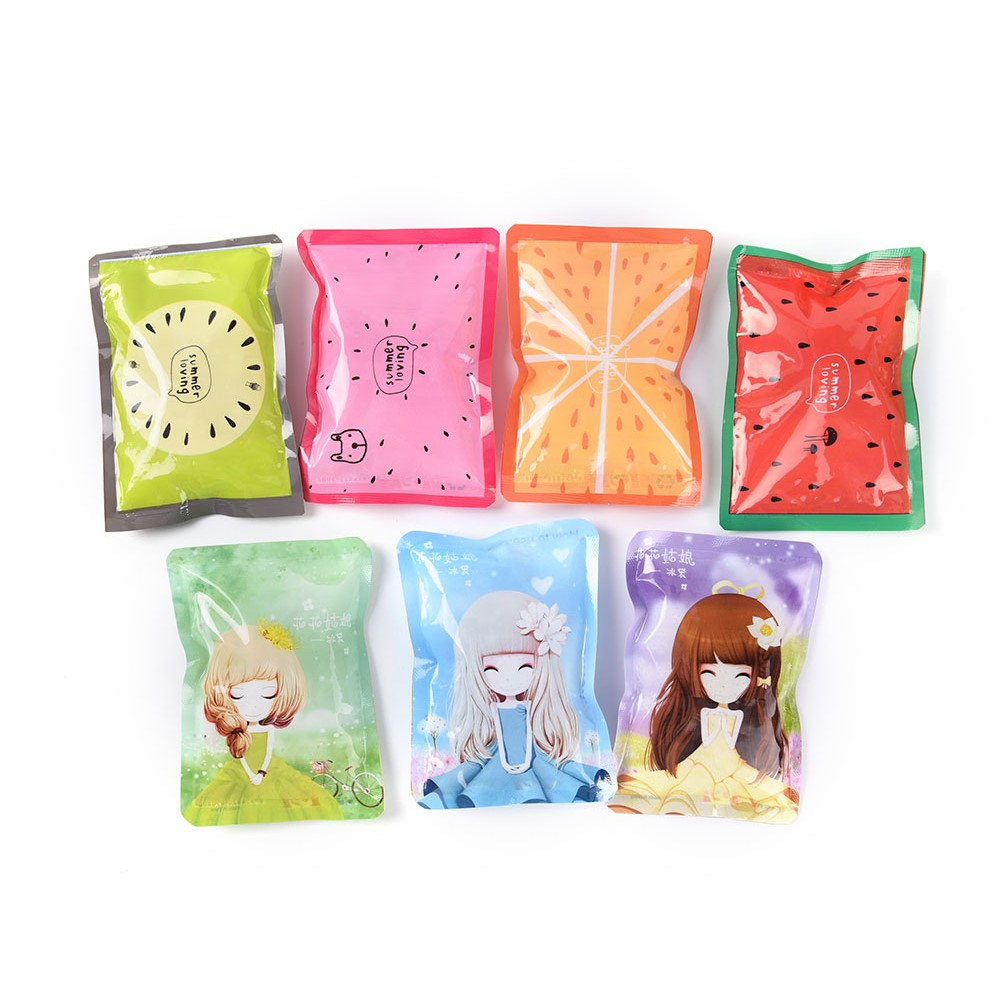 50g 8*11 Cm Cute Summer Cold Cooler Bags Cartoon Fruit Reusable Gel Ice Bag Cool Pack Health Care Pain Relief Random Color