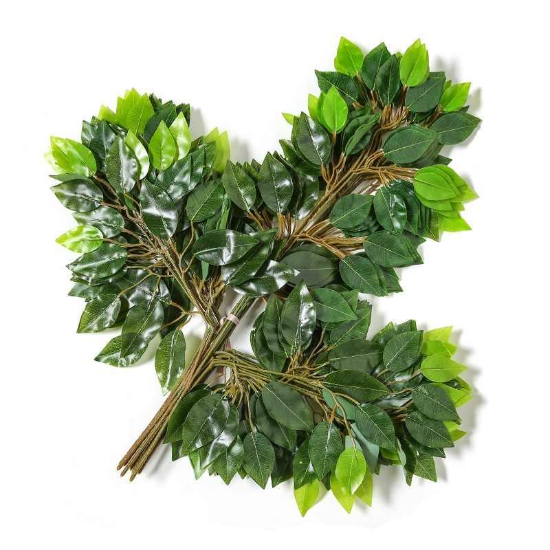 12 sztuk/zestaw sztuczna zielona jedwabna roślina liściasta do domu wesele drzewo strona las dekoracja z motywem Mango Banyan pozostawia sztuczna roślina
