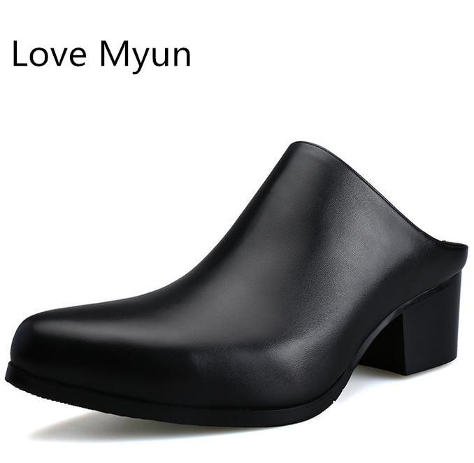 New pointed toe slip on mens genuine leather slippers 5 CM high heels summer men man