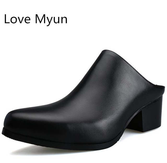 New pointed toe slip on mens genuine leather slippers 5 CM high heels summer men man fashion slippers shoes white blue black