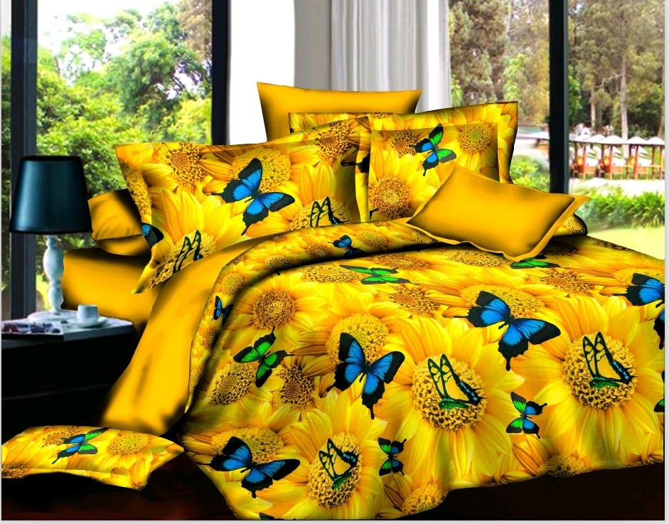 BEST.WENSD Yellow Bed Cover Set Comforter Bedding Sets Bed Sheet Set Dekbedovertrek Pillow Case Butterfly Home Textiles Double