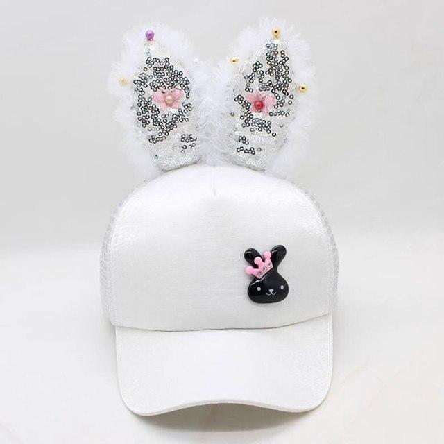 6b3cf6d22c8 2-7 Years Fancy Hats Sequin Rabbit Ears Satin Baseball Cap for Girls  Children Animal