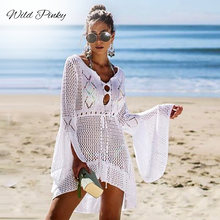 WildPinky V neck white mesh lace dress women sexy summer beach short Causal flare sleeve vestidos 2019