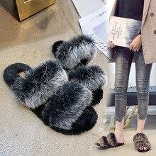 купить basic fur Slippers women shoes Female fashion outside 2019 spring Autumn new Society chic flat flip flops women fur slides mules дешево