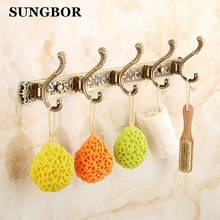 Free Shipping Bathroom wall Carving Antique robe hooks 4-6 Row Hook coat hanger door hooks for bathroom accessories MEN-445F new arrivals european style solid brass robe hook antique coat hooks decorative wall hooks wall hanger bathroom accessories