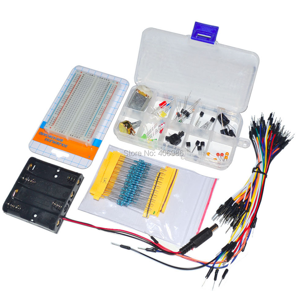 Electronic Universal Parts Kit Breadboard LED Cable Resistor Potentiometer Capacitance for Arduino UNO diy Kit FZ1342