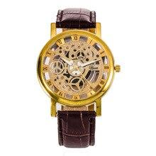2016 Fashion Quartz Skeleton Watch Men Style Brand transparent Hollow Business Dress Wristwatch Leather Watch Mechanical