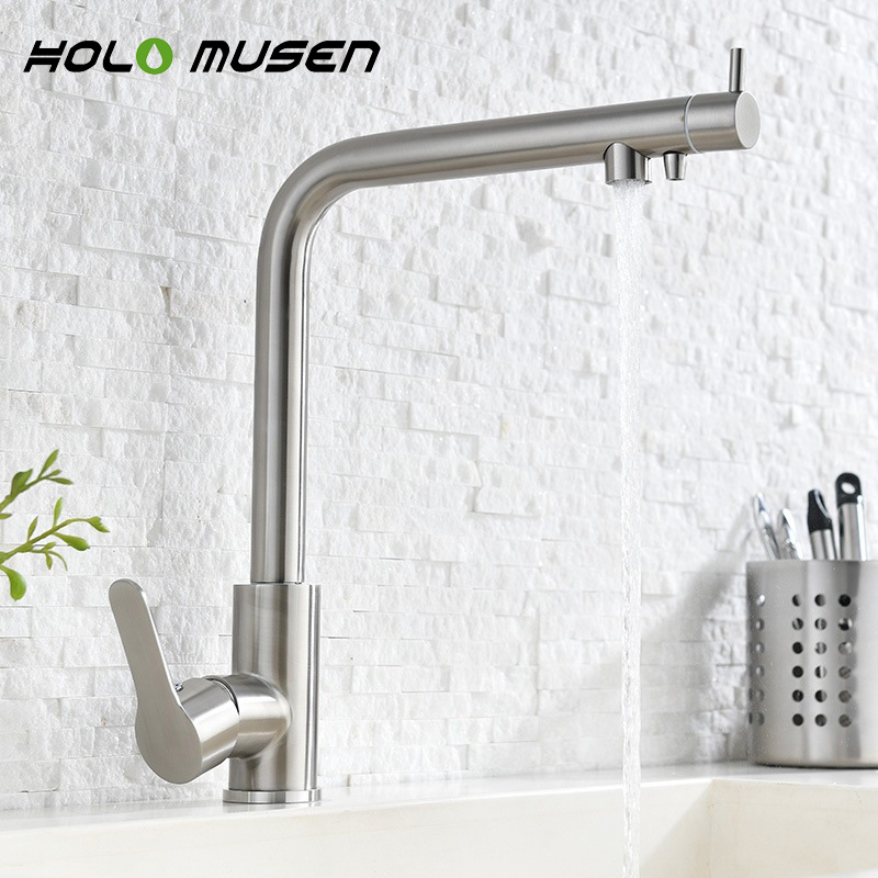 2 in 1 Water Filter Tap Stainless Steel Kitchen Mixer Lead Free Direct Drinking Brushed Nickel Water Filter Kitchen Faucet цена и фото