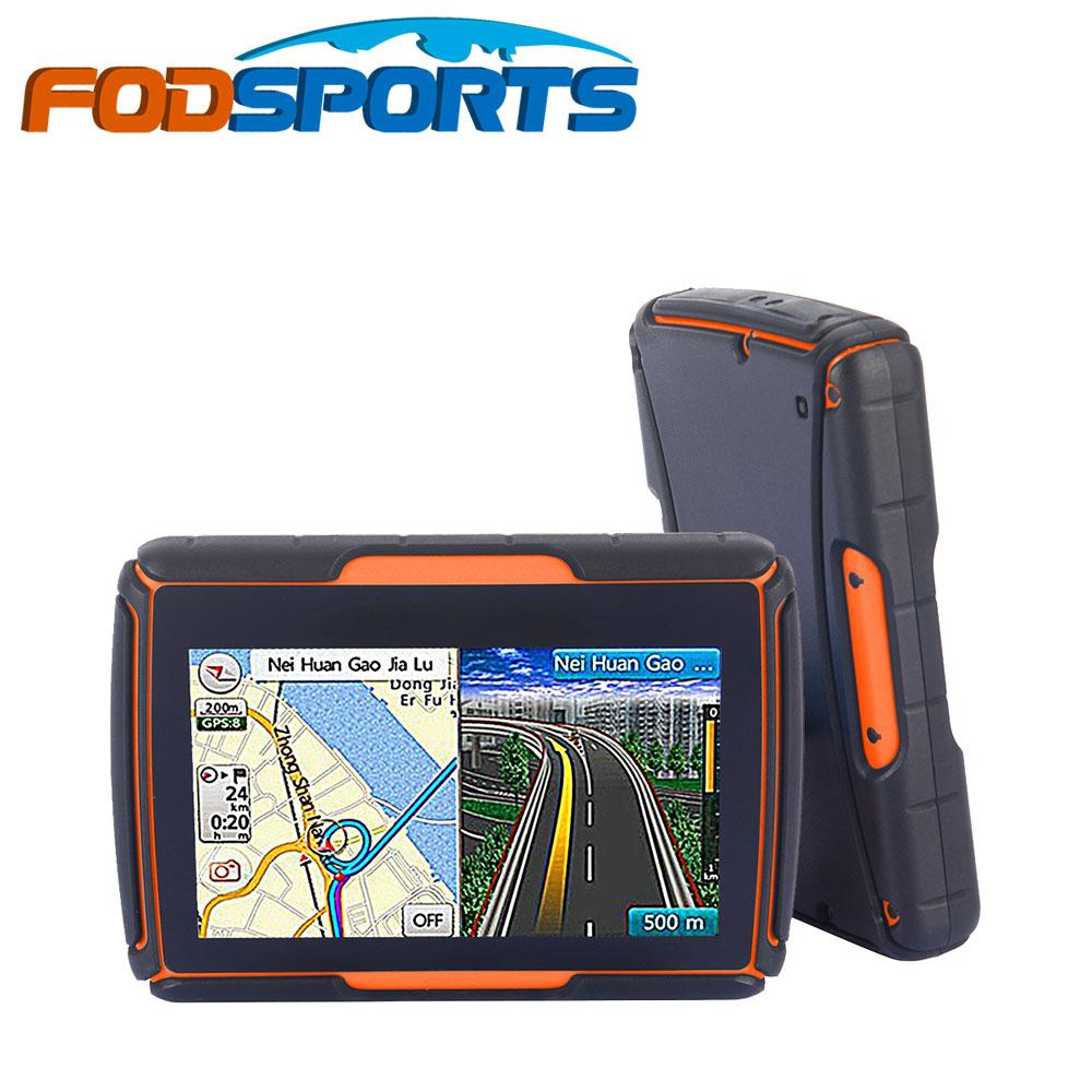 Prix pour 2016 Nouveau 256 M + 8 GB + FM! FODSPORTS Marque 4.3 Pouce Étanche IPX7 Bluetooth GPS Navigator pour Moto Installé Cartes