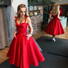 Dark Red Ball Gown Prom Dresses 2019 Sweetheart Straps Satin Tea Length Cocktail Party Dresses Sexy Backless Midi party Gown цена и фото