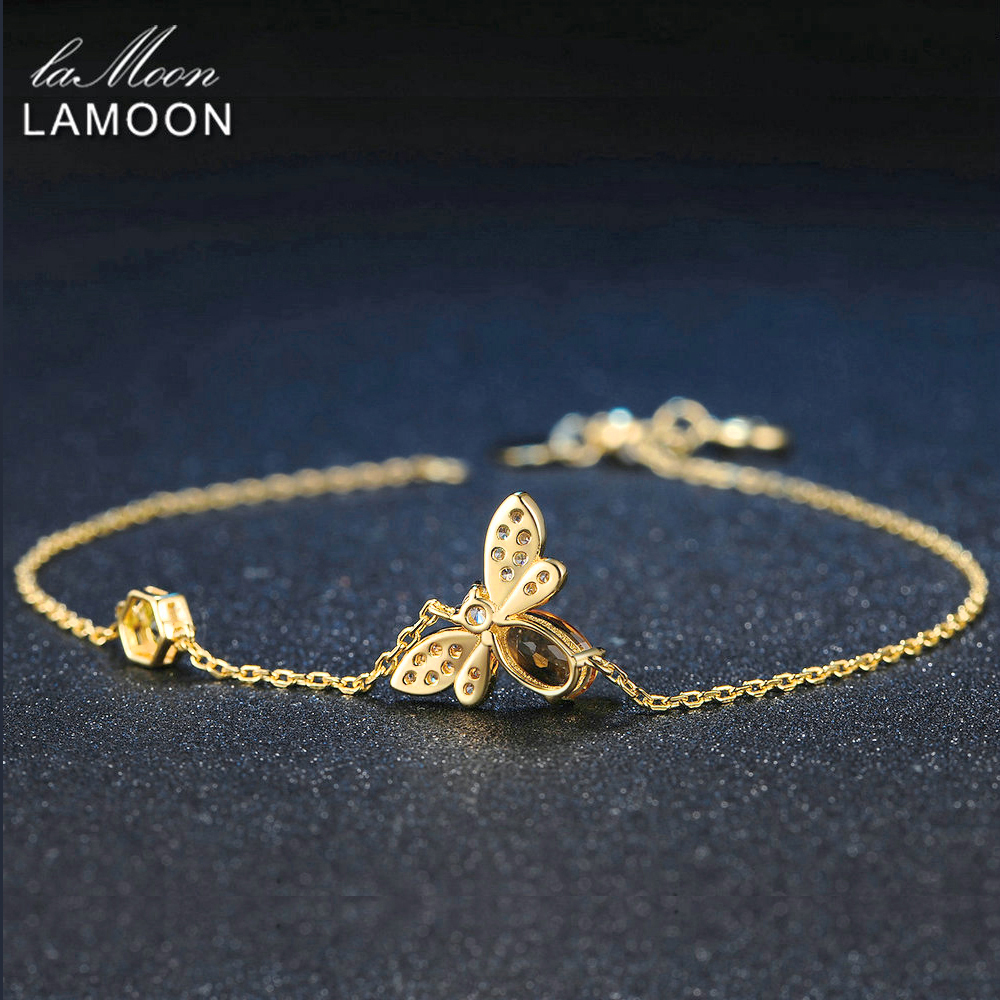 LAMOON Cute Bee 925 Sterling Silver Bracelet Woman love Citrine Gemstones Jewelry 14K Gold Plated Designer