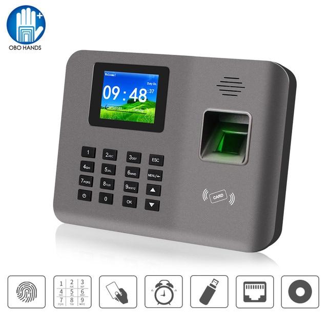 Realand máquina de tiempo de asistencia biométrica TCP/IP/USB de 2,4 pulgadas, lector de huella dactilar, sistema de asistencia de tarjeta RFID, Software de dispositivo de reloj de tiempo