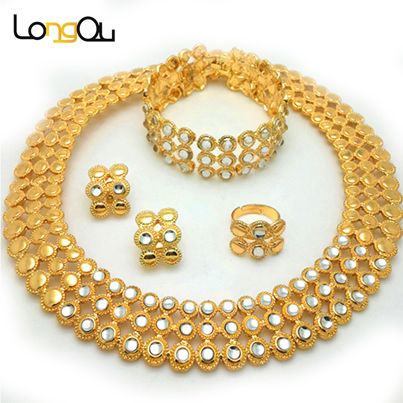 Luxury Wedding Jewelry Sets For Brides African Set Copper Bridal Gold Color