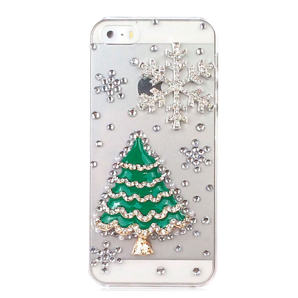 3D Christmas Diamond Back Cover For iPhone 5 Phone Cases For iphone 5s Case Christmas Tree Snow Cute Gift