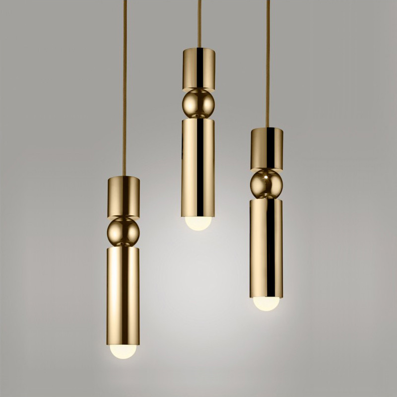 Nordic Brass Pendant Lamp Modern Kitchen Lamp Dining Room Bar Counter Shop Pipe Pendant Down Tube LED Lights Office Silver Light