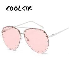 COOLSIR Pink Lens Pilot Sunglasses Women Men Goggle Rivet Transparent Brand Designer Sun Glasses For Ladies Metal Frame Oculos