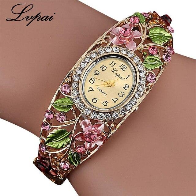 2017 Lvpai Watches Women Fashion Rhinestone Flowers Watch Bracelet Watch Wristwa