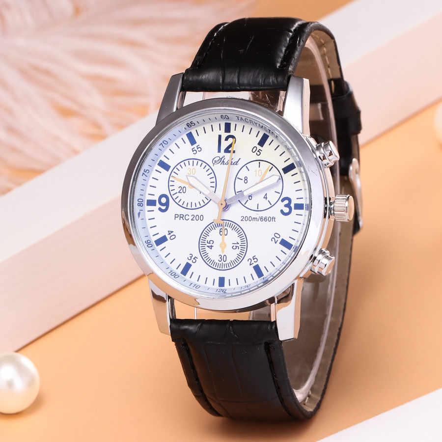 2019 חם כחול-ray זכוכית ניטראלי קוורץ מדמה יד אפידרמיס עור רצועת שעון Reloj דה hombre משלוח חינם Wd3 ים