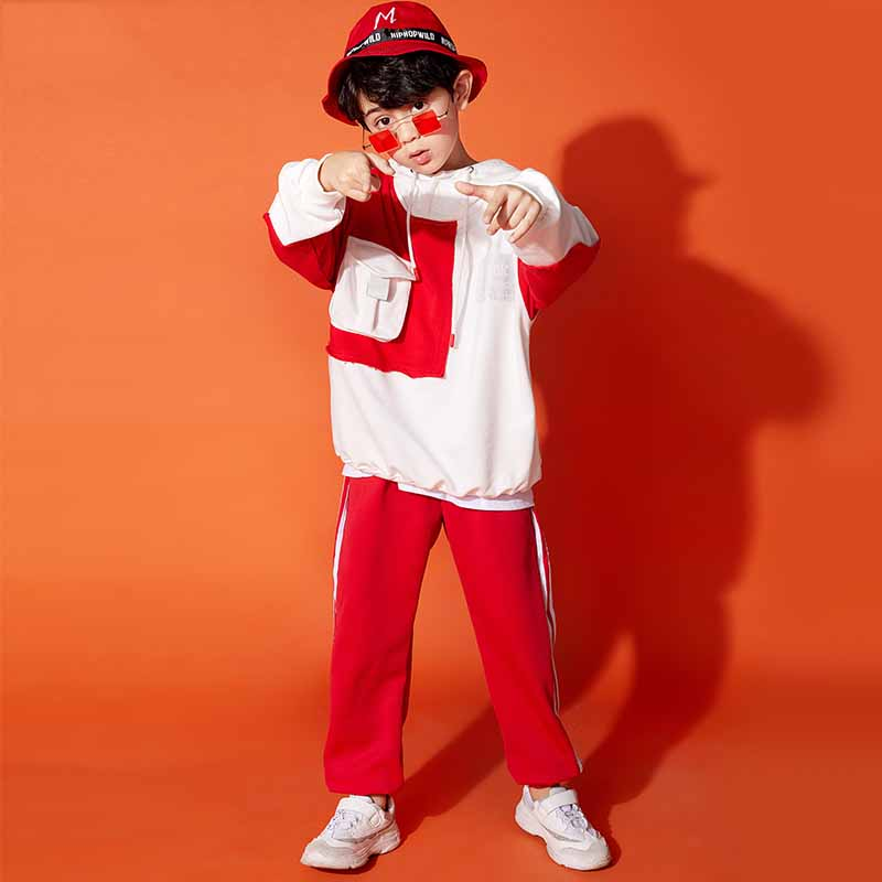 New 2019 High Quality Hip Hop Costumes Boys Street Dance Set Children Hiphop Clothes Performance Costume sports clothing DQS1178